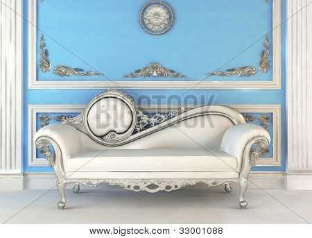 Luxurious sofa in blue royal interior apartment poster