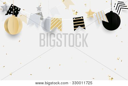 Gold, Black And White Christmas Balls With Golden Garland, Glitter Confetti On White Background. Chr