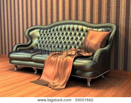 Sofa With Pillow And Coverlet In Interior With  Stripped Wallpaper And Wooden Parquet