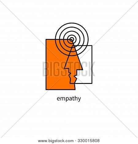 Psychology Logo, Empathy Icon, Psychotherapy Sign, Two Man Face And Wavelength, Psychologist Symbol
