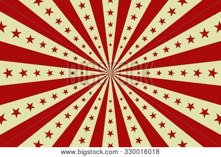 Circus Vintage Background, Vector Red Circus Retro Poster With Stars, Cartoon Carnival Wallpaper, St