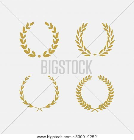 Golden Laurel Wreath Floral Heraldic Element Set, Heraldic Coat Of Arms Decorative Logo Set Illustra