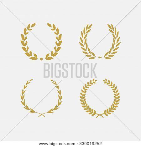 Golden Laurel Wreath Floral Heraldic Element Set, Heraldic Coat Of Arms Decorative Logo Set Illustra