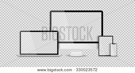 Devices In Realistic Trendy Design On Transparent Background. Set Of Computer Laptop Tablet And Smar