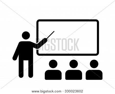 Training Isolated Vector Icon. Training Seminar Icon. Blackboard Icon. Lecture Icon Vector Sign Symb