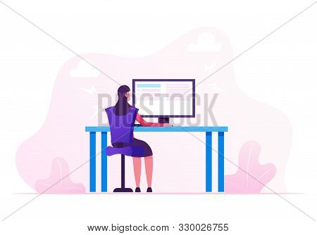 Business Woman Working On Personal Computer At Home Or At Office Workplace, Hardwork Female Characte