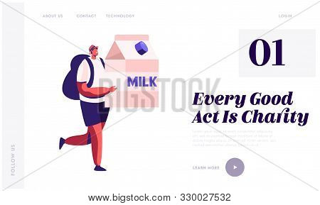 Altruistic Behavior, Togetherness And Philanthropy Website Landing Page. Male Character Carry Huge M
