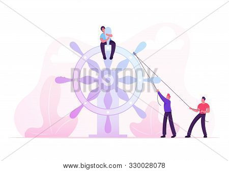 Businesspeople Moving Huge Steering Wheel Bounded With Ropes. Businessman Control Ship Helm And Brin