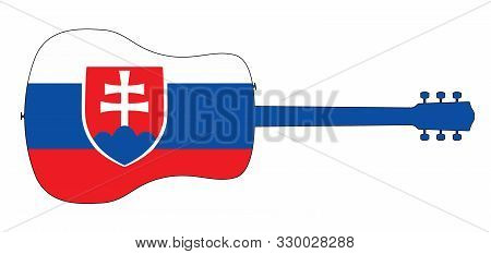 A Typical Acoustic Guitar Silhouette Isolated Over A White Background With A Slovakian Flag