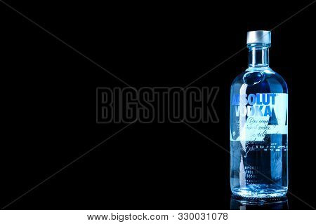 Mykolaiv, Ukraine - October 04, 2019: Absolut Vodka On Black Background. Space For Text