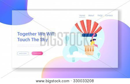 Woman Hiring Air Balloon Website Landing Page. Happy Smiling Girl Riding On Aerostat And Viewing Aro