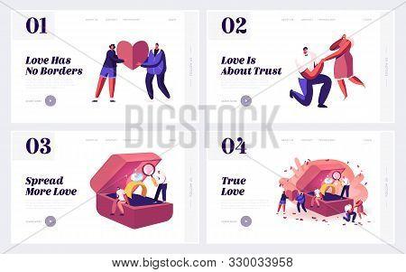 Love, Proposal And Engagement Website Landing Page Set. Loving Men Asking Women Get Married Standing