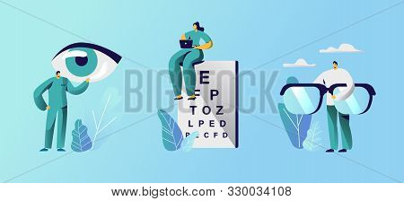 Oculist Doctors Set, Professional Optician Exam Devices For Treatment Vision Eyeglasses And Chart Fo