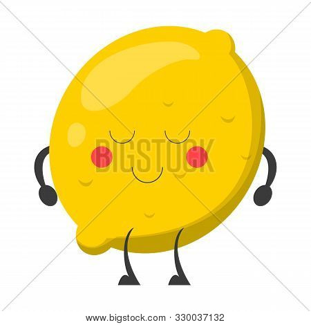 Cute Funny Lemon Character With Face Vector Isolated