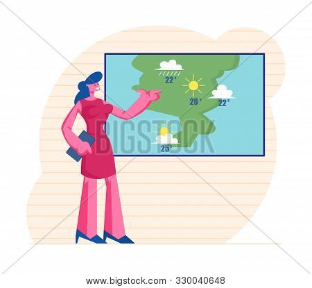 Television Anchorwoman At Studio Forecast Weather During Live Broadcasting. Woman Meteorologist Anno