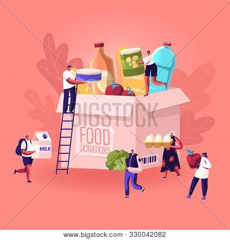 Tiny People Filling Cardboard Donation Box With Different Food And Products For Help To Poor People