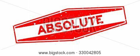 Grunge Red Absolute Word Hexagon Rubber Seal Stamp On White Background