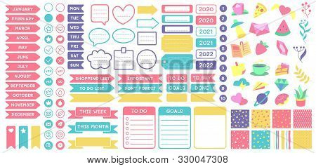 Cute Planner Stickers. Organizer Tags, Color Patterns And Calendar Icons. Check, Planners And Weekly