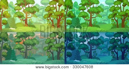 Daytimes Forest Landscape. Forest Trees, Sun Shining Woods And Woodland Nature Day, Night, Morning A