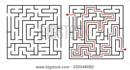 Labyrinth Game Way. Square Maze, Simple Logic Game With Labyrinths Way. How To Find Out Quiz, Findin