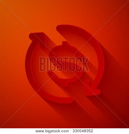 Paper Cut Return Of Investment Icon Isolated On Red Background. Money Convert Icon. Refund Sign. Dol