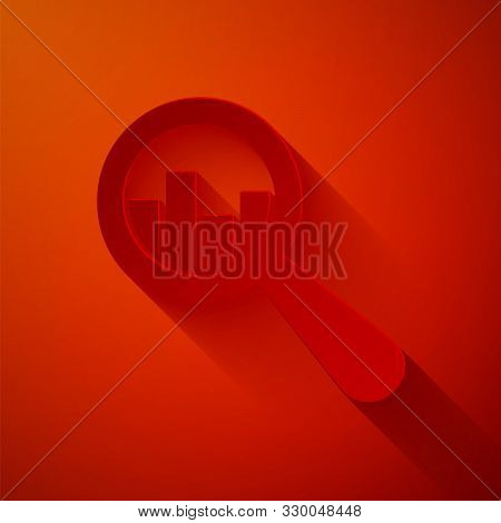 Paper Cut Magnifying Glass And Data Analysis Icon Isolated On Red Background. Paper Art Style. Vecto