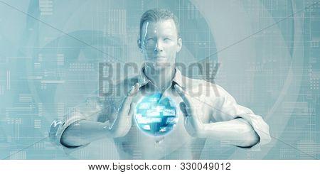 Asian Business Man Using Digital Solutions Technology Concept Art 3D Render