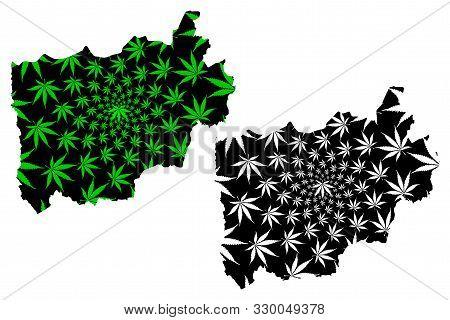 Ratchaburi Province (kingdom Of Thailand, Siam, Provinces Of Thailand) Map Is Designed Cannabis Leaf