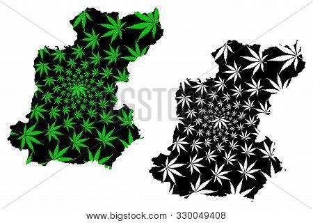 Roi Et Province (kingdom Of Thailand, Siam, Provinces Of Thailand) Map Is Designed Cannabis Leaf Gre