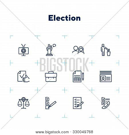Election Line Icon Set. Checkbox, Checklist, Vote, Speech. Election Concept. Can Be Used For Topics