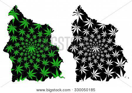 Sisaket Province (kingdom Of Thailand, Siam, Provinces Of Thailand) Map Is Designed Cannabis Leaf Gr