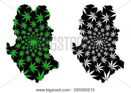 Sukhothai Province (kingdom Of Thailand, Siam, Provinces Of Thailand) Map Is Designed Cannabis Leaf