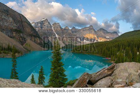 Panoramic Image Of The Moraine Lake At Daybreak, Banff National Park, Alberta, Canada