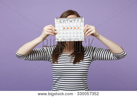 Woman Hold Cover Face Hiding Female Periods Calendar For Checking Menstruation Days Isolated On Viol
