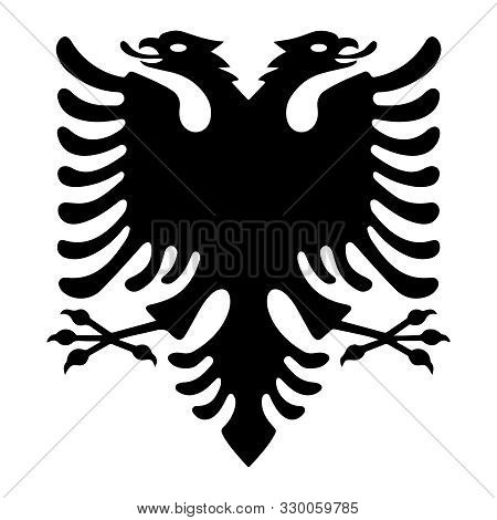 Albanian Eagle With Two Heads. Isolated Black Symbol On White Background. Albanian Flag And Coat Of