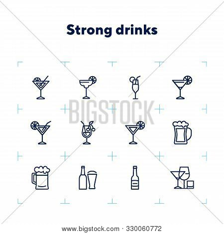Strong Drinks Icons. Set Of Line Icons On White Background. Beer Bottle, Martini, Margarita Cocktail