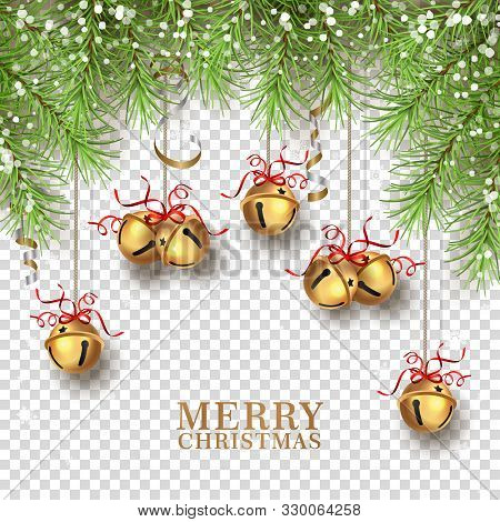 Christmas Tree Decorations. Vector Christmas Bells Hanging On Green Fir Tree Branches. Elements Of C