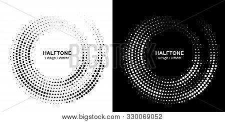 Halftone Circle Dotted Frame Circularly Distributed. Vector Dots Logo Emblem Design Set. Round Borde