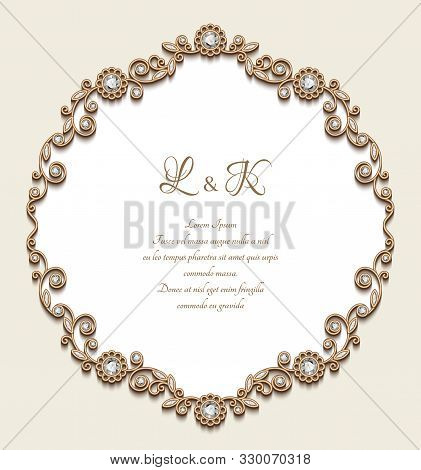 Vintage Gold Frame With Jewellery Borders, Antique Jewelry Card With Diamonds, Elegant Vignette For