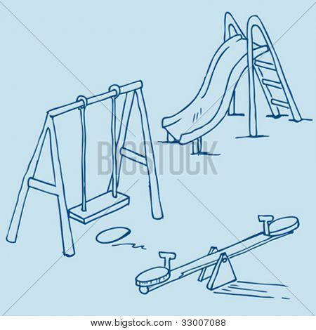hand drawn illustration of isolated playground objects on blue background
