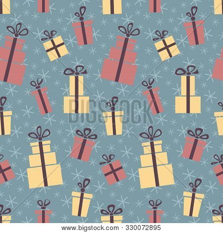Christmas Presents. Seamless Vector Illustration With Gift Boxes And Bows, Snowflakes