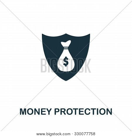 Money Protection Vector Icon Symbol. Creative Sign From Gdpr Icons Collection. Filled Flat Money Pro