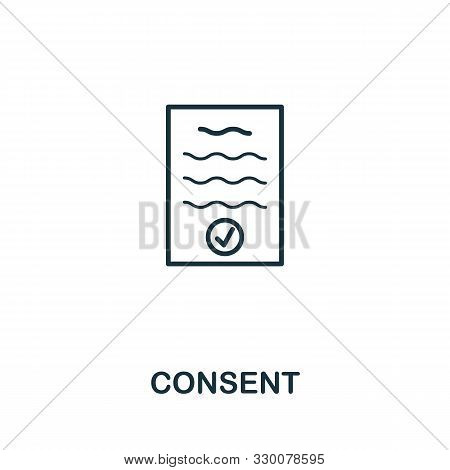 Consent Vector Icon Symbol. Creative Sign From Gdpr Icons Collection. Filled Flat Consent Icon For C