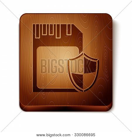 Brown SD card and shield icon isolated on white background. Memory card. Adapter icon. Security, safety, protection, privacy concept. Wooden square button. Vector Illustration poster