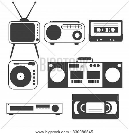 Set Of Black And White Objects Of Old Home Appliances Of The 80s And 90s In A Flat Style Tape, Casse