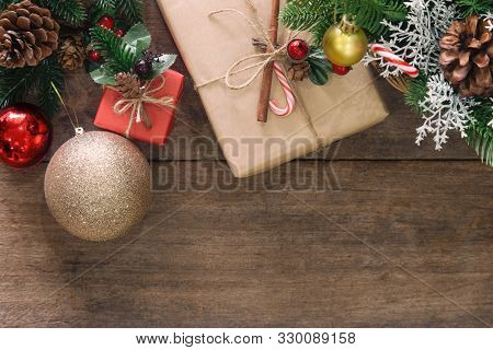 Holiday Christmas Wood Wallpaper With Gift Box. Christmas Card In Top View Flat Lay With Festive Dec