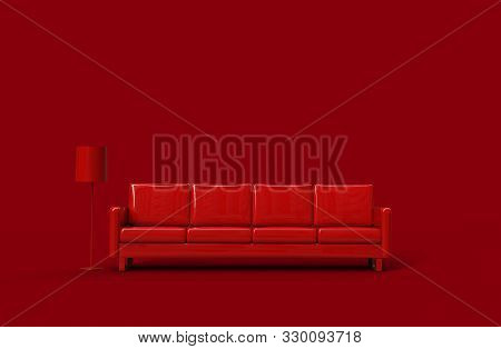 Red Leather Sofa Isolated On Red Background. 3d Rendering