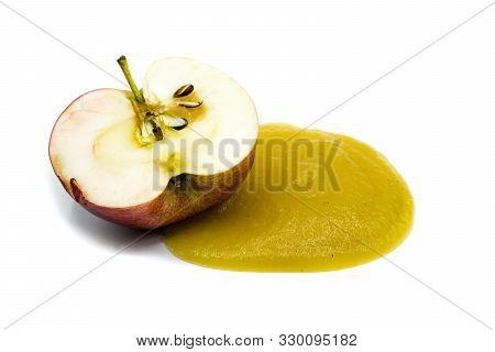 Apple Fruit Applesauce Isolated On White Background