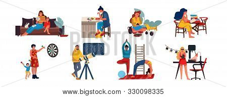 People At Home. Cartoon Characters Relaxing And Doing Home Activities, Listening Music, Cooking Read