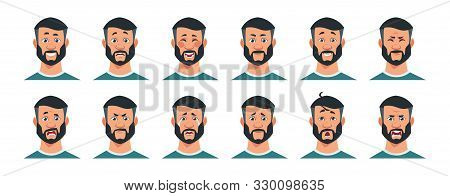 Man Expressions. Cartoon Character With Happy Surprised Angry Sad Tired And Other Emotions. Facial E